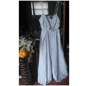 White and Black Striped Sphegetti Strap Jumpsuit